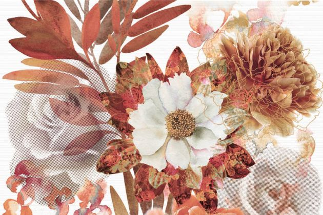 Composicion Savage Flowers Marron 01 30x45