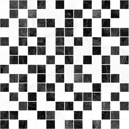 Crystal Мозаика чёрный+белый 30x30